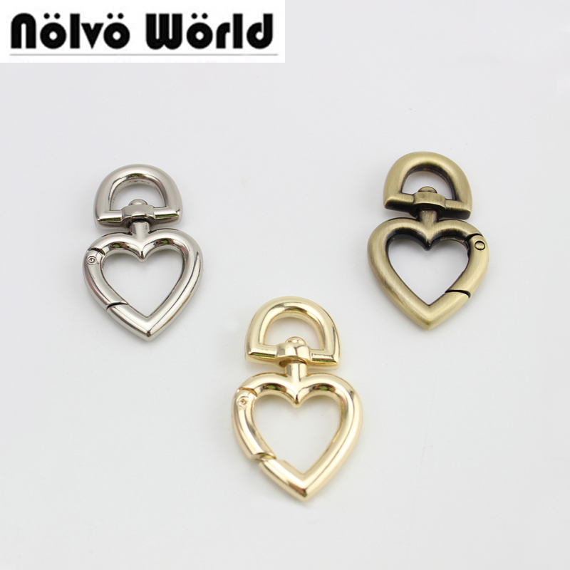 30pcs 3 Colors Heart Shape Keyfob Clasp Metal Hook,Heart Lobster Clasps Accessories For Handbags Bags