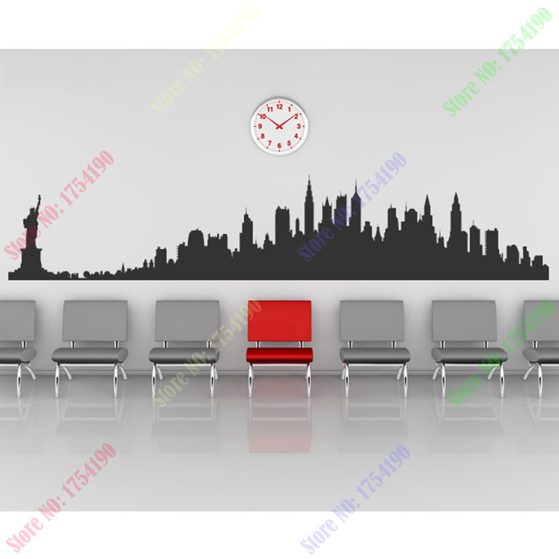 new york city skyline wall stickers city silhouette buildings art