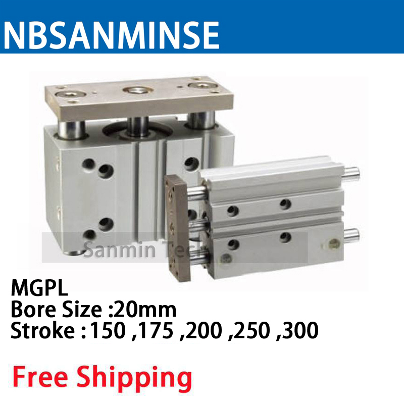 MGPL Bore Size 20 Compressed Air Cylinder SMC Type ISO Compact Cylinder Miniature Guide Rod Double Acting Pneumatic Sanmin bore size 63mm 40mm stroke smc type compact guide pneumatic cylinder air cylinder mgpm series