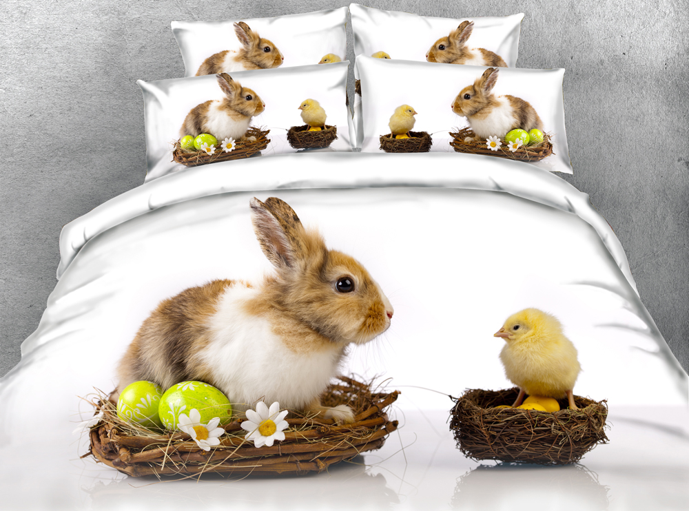 JF 059 S Funny Festival Easter bedding sets rabbit eggs and chick twin size blanket duvet