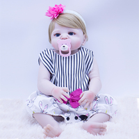 about 55 57cm Bebes Reborn Doll full Silicone Girl Toy Reborn Baby Doll Gift toy for Children fashion Clothes With pink pacifier