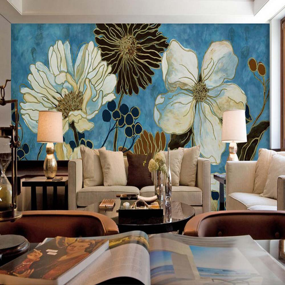 3D Embossed Vintage Painting Floral Wallpaper Photo Wall