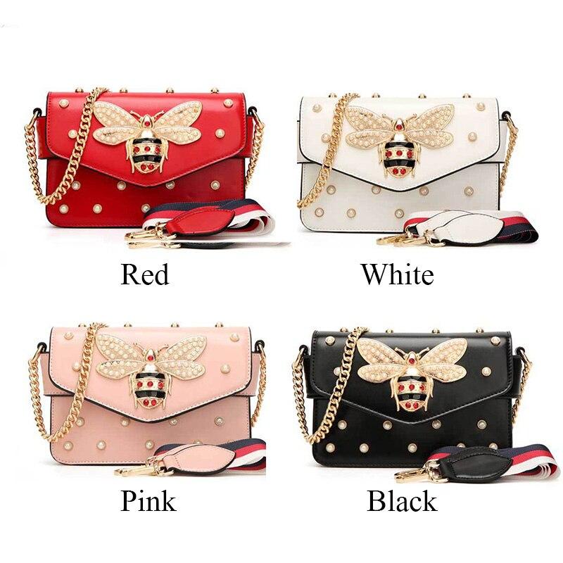 Wobag Luxury Diamond Design Women Handbag Messenger Bag Fashion Brand Style PU Leather Bags Red Black