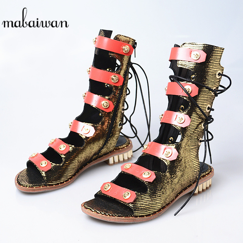 Mabaiwan Fashion Casual Women Shoes Summer Ankle Sandals Open Toe Flip Flops Rivet Shoes Woman Buckle Gladiator Breathable Flats summer tassel sandals fashion rivet gladiator sandals women flats big size hollow shoes woman casual sandal free shipping