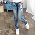 2016 New Girls Jeans Korean Slim Spring Denim Casual Trousers Jeans Pants Children Clothing Fashion Leggings Free Shipping
