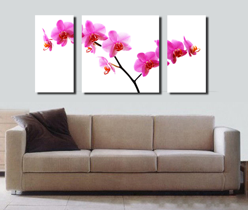 Hot Sale Free Shipping 3pcs Canvas Painting Wall Picture Home Decor Painting Printed Butterfly Orchid Flower
