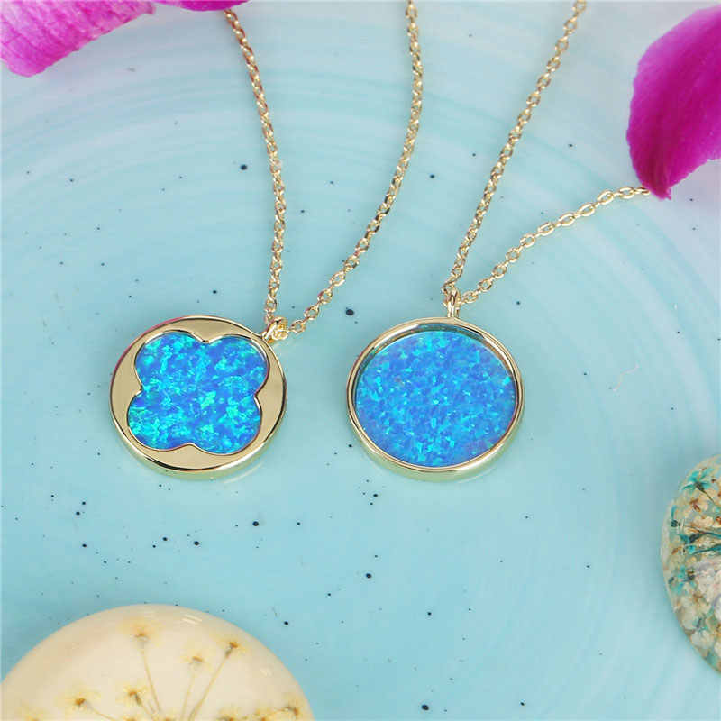 Newest Design Blue Round Pendant Necklace for Women Four Leaf Clover Opal Necklace Handmade gilding chokers necklaces for women