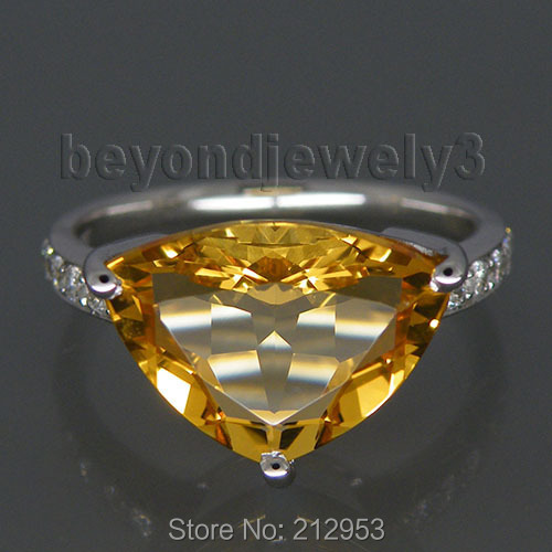 Natural Citrine Stone Trillion Cut Ring Settings 13x10mm Genuine Solid 18K White Gold Engagement Rings For Women WU178