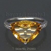 Natuurlijke Citrien Steen Biljoen Cut Ring Instellingen 13x10mm Echt Massief 18 K Wit Goud Verlovingsringen Voor vrouwen WU178