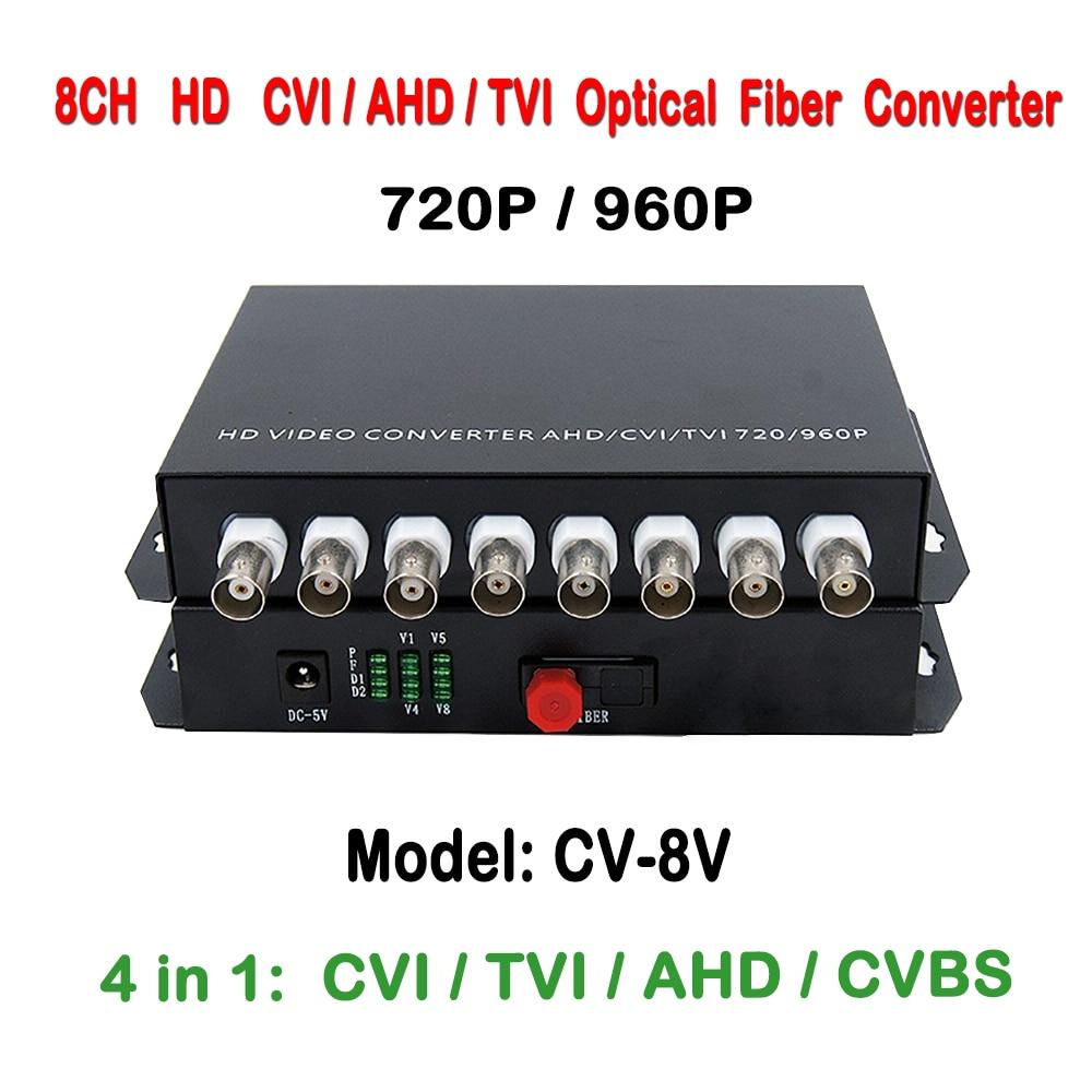8ch 1.3MP 960P/720P HD Video AHD CVI TVI Fiber Optical Converter Transceiver, Single-mode Single Fiber 20KM, FC Fiber Port