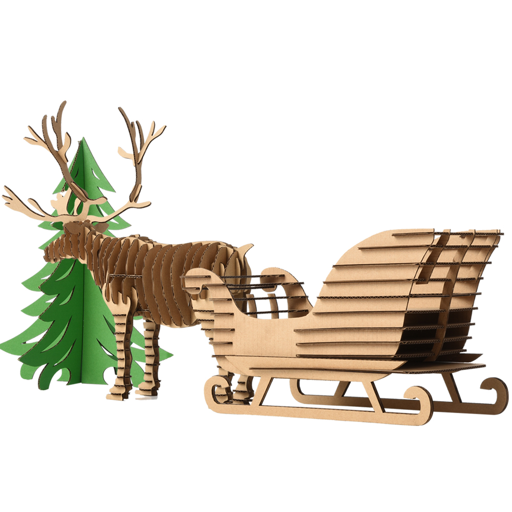 Handmade DIY Christmas Tree Reindeer Snow Sled Model Toys for Kids Craft 3D Puzzle Deer Sledge Ornaments Xmas