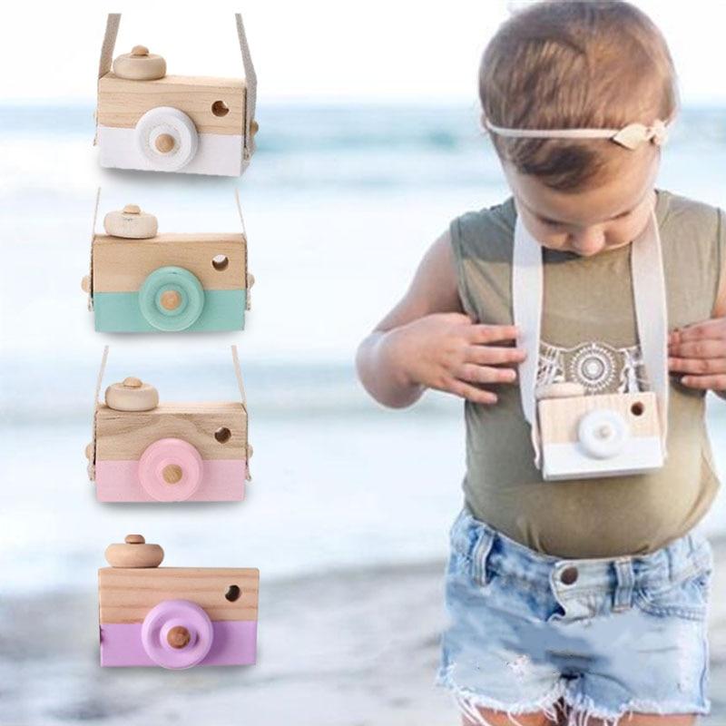 Cámara de madera videocámara bebé Cosplay Prop fotografía toma de fotos decoración niños educativos niños colgante cuello juguetes de madera