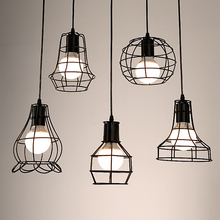 цены Retro Edison Pendant Light Bulb Iron Guard Wire Cage Ceiling Hanging Light Fitting Cafe Lampshade DIY Lamp Base holder