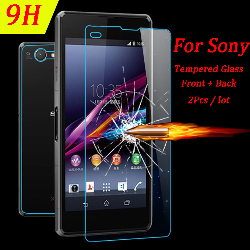 2Pcs Front Back Screen Protector Tempered Glass for Sony Xperia M4 Aqua Z1 Z3 Z4 Z5