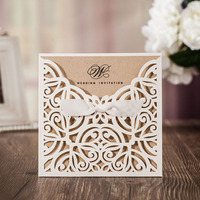 50pcs White Laser Cut Wedding Invitations Card Greet Card Personalized Custom With Ribbon Free Envelope Seals