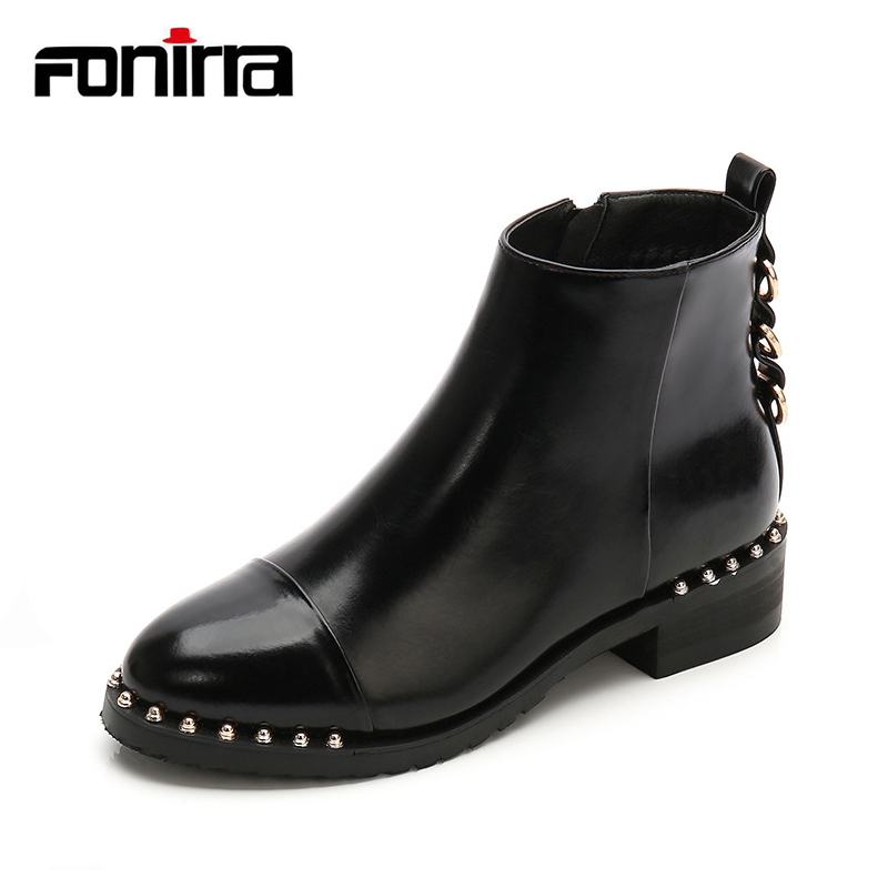 FONIRRA Winter Patent Leather Rock Punk Boots Women Fashion Rivet Gothic Ankle Boots Zipper Block Heel Warm Shoes 003