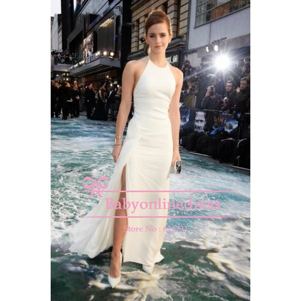 096228ff46 2014 New Fashion Emma Watson Halter White Prom Dress Noah London Premiere  Sheath Backless Red Carpet Maxi Long Celebrity Gowns-in Celebrity-Inspired  Dresses ...