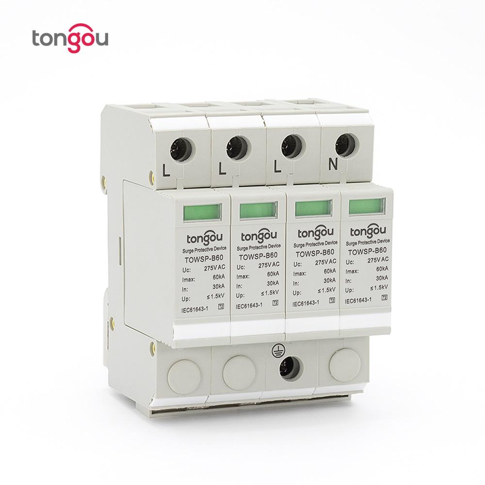 SPD 3P N 4P 30KA~60KA B ~275VAC House Surge Protector Protection Protective Low-voltage Arrester Device