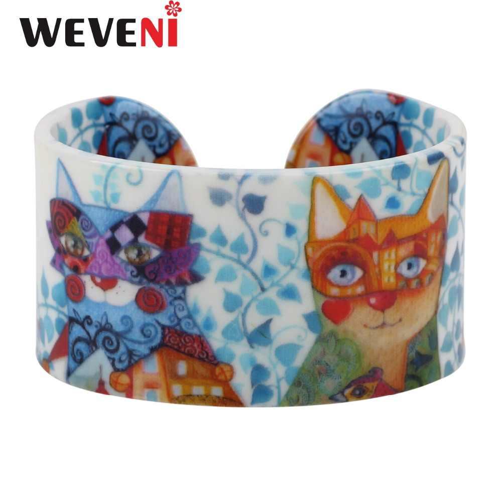 Weveniアクリルデザイン愛広い猫子猫ブレスレット腕輪ジュエリー用女性新しい動物バングルジュエリーギフト用猫恋人