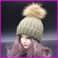 2016 Women Winter Fur PomPom Hat Cashmere Wool Knit Beanie Raccoon Poms Bobble Hats