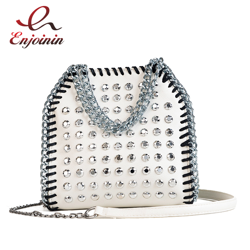 Fashion Punk Silver Rivet Woven Chains Ladies Chains Purse Handbags Shoulder Bags Crossbody Mini Messenger Bag Flap Casual TotesFashion Punk Silver Rivet Woven Chains Ladies Chains Purse Handbags Shoulder Bags Crossbody Mini Messenger Bag Flap Casual Totes