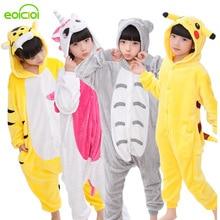 Купить с кэшбэком EOICIOI Animal Children Pajamas Set Flannel Hooded Stitch Unicorn Panda Pajamas Onesies Cosplay Kids Sleepwear For Boys Girls