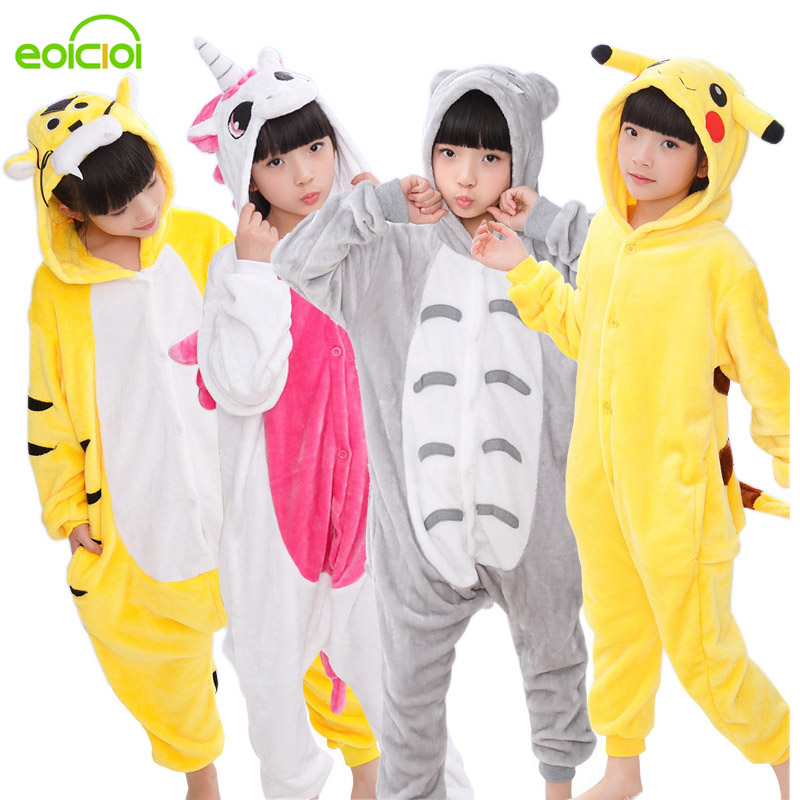 747bb221329ec EOICIOI Animal enfants pyjamas ensemble flanelle à capuche point licorne  Panda pyjamas pyjamas Cosplay enfants vêtements