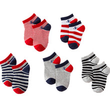 5Pair / Lot Naval Strip Børn Drenge Sok Anti Slip Sport Kid Nyfødte Baby Sokker Casual Toddler Girl Short Sock 1-9T