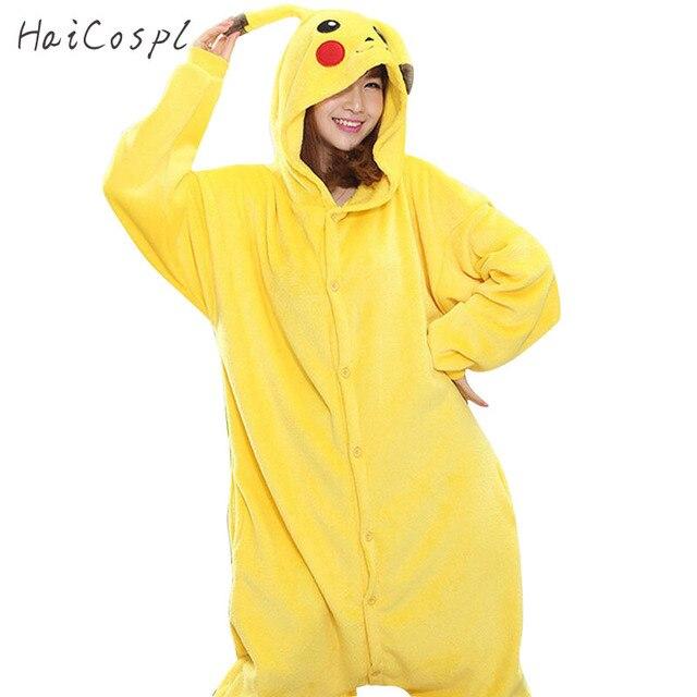 Кигуруми Покемон пижама Пикачу Onesie для женщин взрослых Аниме косплэй  костюм милые фланелевые теплые зимние пижамы 161e8301011a9