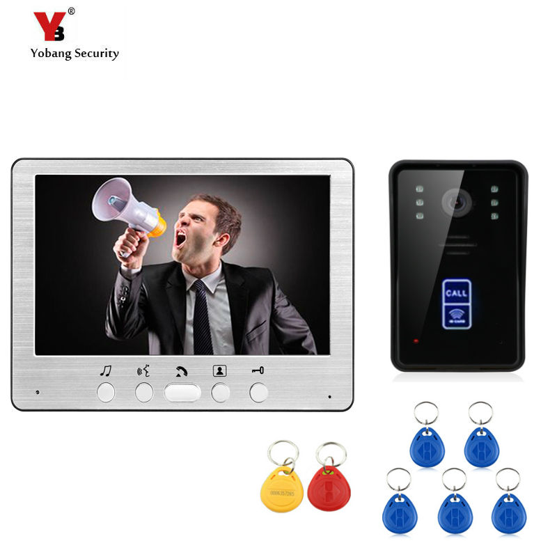 Yobang Security 7 Video Intercom Door Phone System With 1 White Monitor 5 RFID Card Reader HD Doorbell Camera yobang security freeship 7 video intercom for villa 2 monitor doorbell camera with 5pcs rfid cards hd doorbell camera in stock