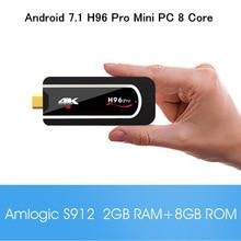 S912 H96 Pro Mini PC Amlogic Octa núcleo Android 7.1 2 GB 8 GB/16 GB 4 K HDMI TV Vara com 2.4G WiFi BT4.1 Portátil caixa smart tv