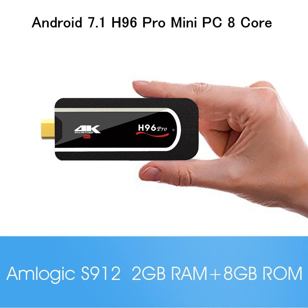 H96 Pro Mini PC Amlogic S912 Octa core Android 7.1 2GB 8GB/16GB 4K HDMI TV Stick with 2.4G WiFi BT4.1 Portable smart tv box