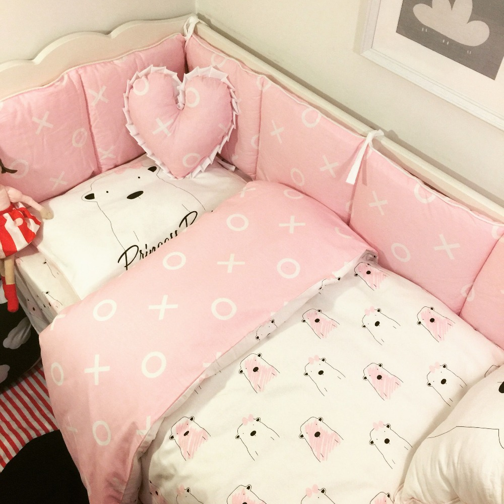 Full Crib Bedding Sets Us 96 Crib Bedding Baby Bedding Set Sweet Baby Nursery Crib Bumper Quilt Fitted Sheet Pink White Pig 100 Cotton In Bedding Sets From Mother