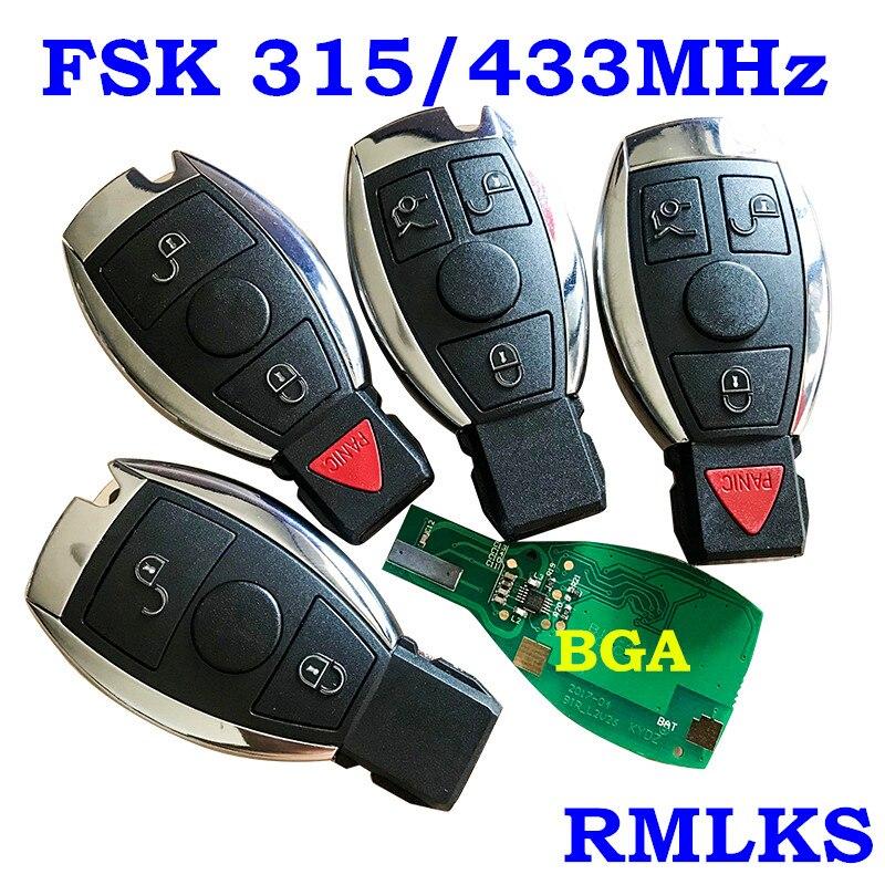 RMLKS 2 3 4 boutons Intelligent Smart télécommande clé 315MHz 433MHz voiture Auto adapté pour Mercedes Benz 2000 + NEC BGA Type télécommande porte-clés