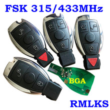 Smart Remote Key 315MHz 433MHz Car Auto Fit For Mercedes Benz 2000+ NEC BGA Type Remote Key Fob For MB With Emeregcny Key Blade