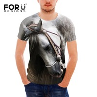 FORUDESIGNS Wholesale 3D Horse Hair Tee Shirt for Men Summer Style Short Sleeve Male Comfort T Shirt Funny Animal Printing Top