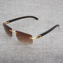 e9d32c2441d Sereseng Wood Sunglasses Black Mix White Buffalo Horn Retro Styple Shades  Men Rimless