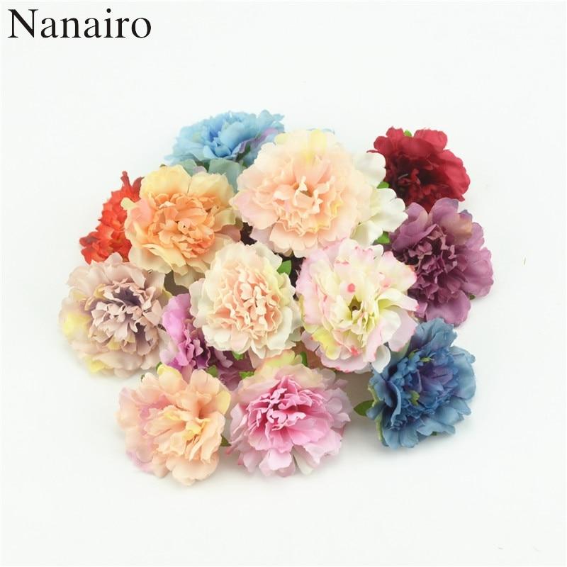 Недорогие искусственные шелковые цветы 4,5 см, европейские осенние яркие пионы, искусственные листья, украшение для дома, вечерние ринки, пио...