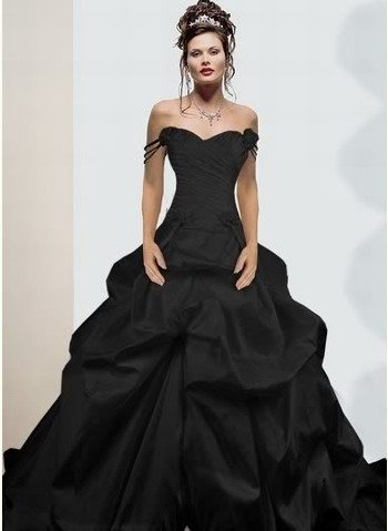 A Line Strapless Quinceanera Dress Black Red Taffeta Off Shoulder