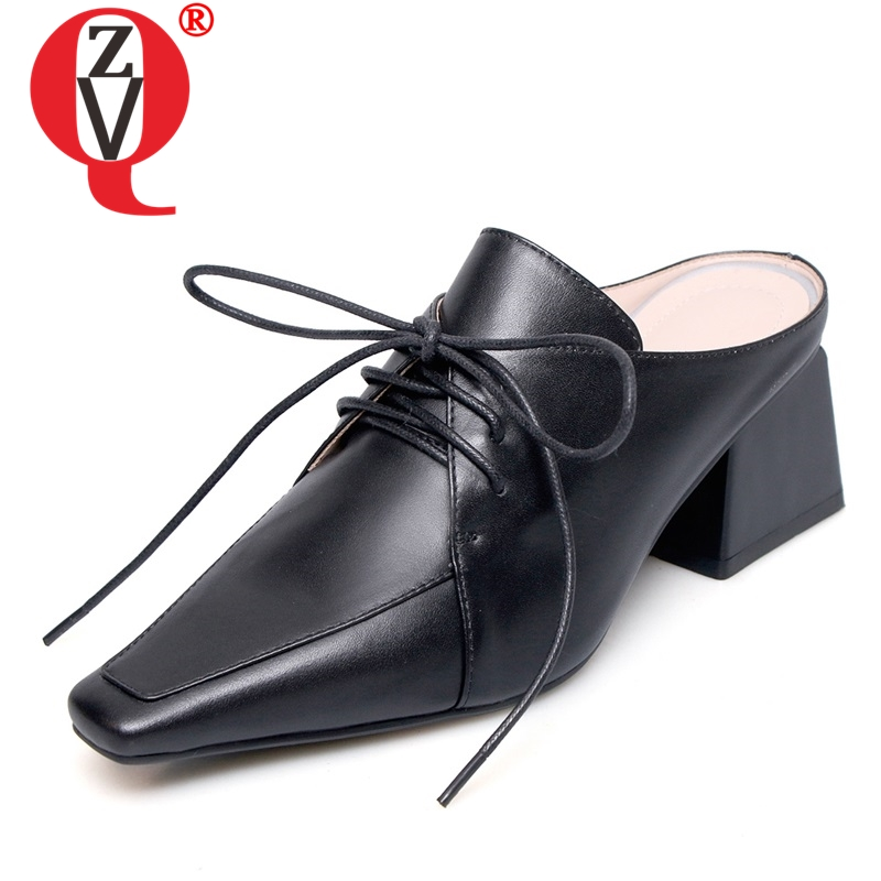 ZVQ women slippers new fashion genuine leather high square heel cross-tied square toe black and white lady mules shoesZVQ women slippers new fashion genuine leather high square heel cross-tied square toe black and white lady mules shoes