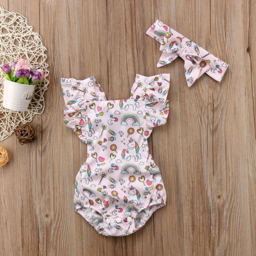 Newborn Baby Infant Girls Unicorn Sleeveless Romper Outfits Clothes Set