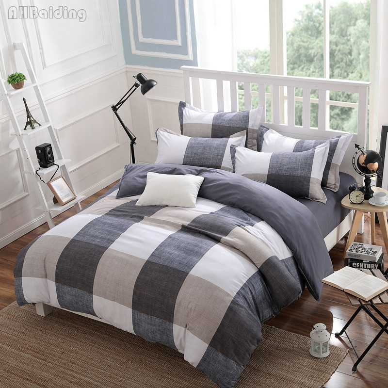 White Gray Plaid Bedding Set Modern Style Bed Linen Bedclothes for Adult Kids Twin Full Queen King Duvet Cover Set Home Textile