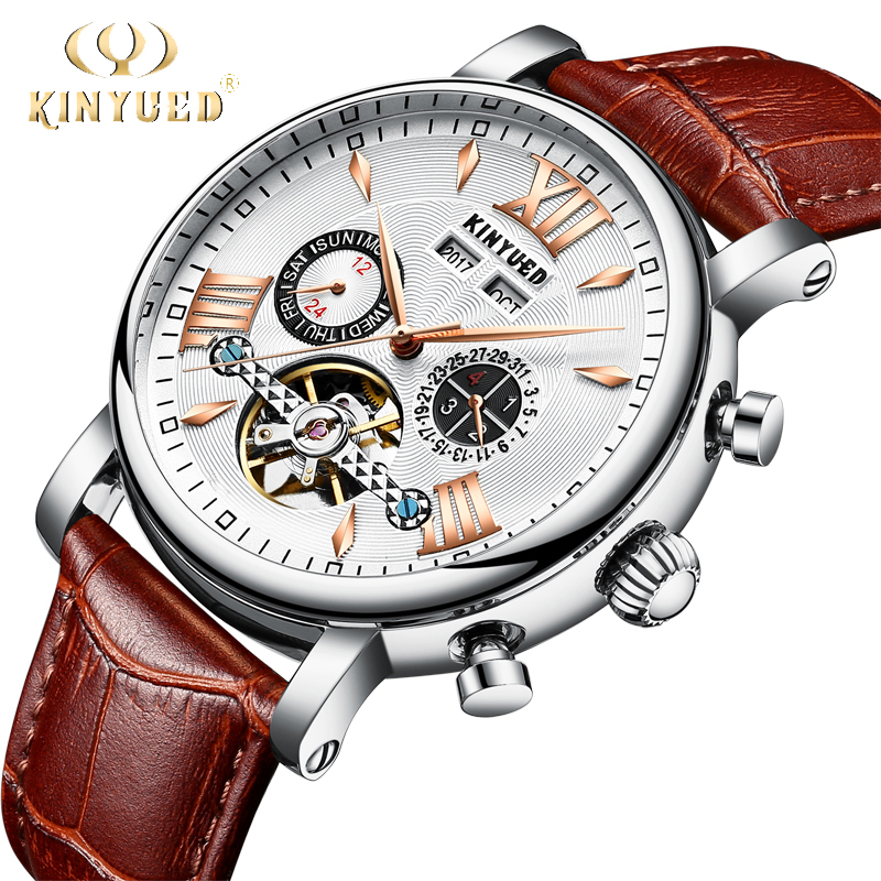 все цены на KINYUED Flying Tourbillon Watch Skeleton Men Leather Waterpoof Business Calendar Mens Mechanical Watches Automatic reloj hombre