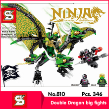 SY SY810 346Pcs Ninja Series Double Dragon big fights Model Building Blocks Set Bricks Toy With Children Toy Compatible