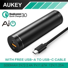 AUKEY Power Bank Quick Charge 3.0 5000mAh Mini Cylindrical With AiPower Adaptive Charging Portable External Battery for Phones