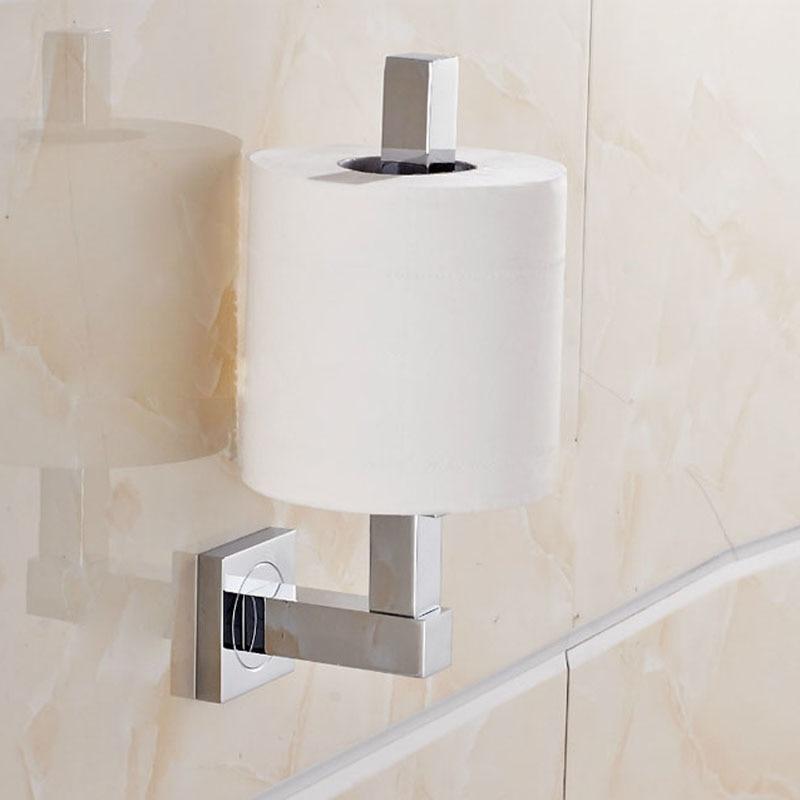 Wall Mount Brass Standing Toilet Paper Holder Chrome Finish Bathroom Paper Tissue Rack rod