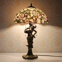 Candeeiro de mesa tiffany clássico europeu barroco vitrais lâmpada de cabeceira e27 110-240 v