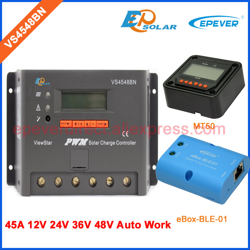 charger battery 48V 36V work EPEVER Solar PWM controller VS4548BN MT50 Meter remote and bluetooth box for Phone APP 45A EPsolar pwm new viewstar series solar battery charge controller vs4548bn 45a 45amp epever epsolar 12v 24v 36v 48v auto work
