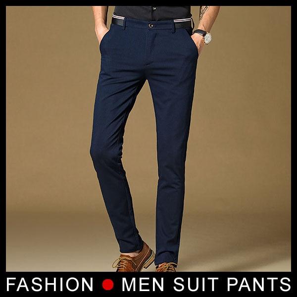 New High Quality Mens Fashion Slim Fit Suit Pants Navy Men Skinny Formal Pants Business Blazer Pant Black trousers
