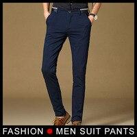 Nowy 2017 Wysokiej Jakości Mens Fashion Slim Fit Garnitur Spodnie Granatowy Mężczyźni Spodnie Czarne spodnie Skinny Spodnie Formalne Biznes Blazer
